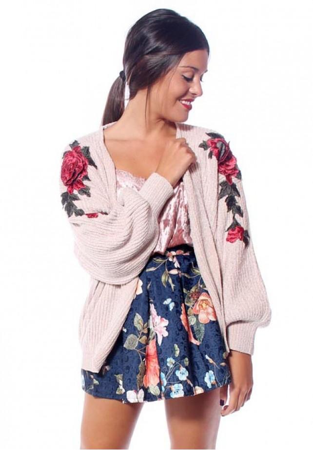 Kimono de punto aplique floral