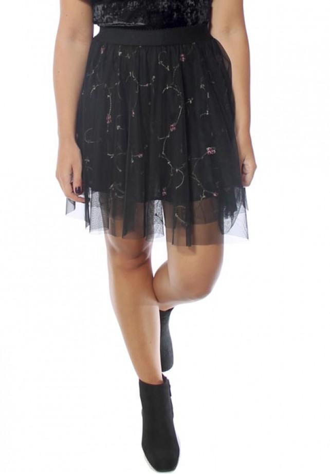 Minifalda tul bordada