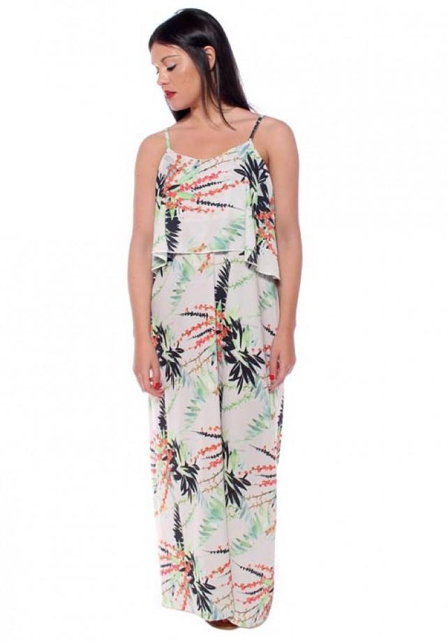 Vestido largo flores corte capa