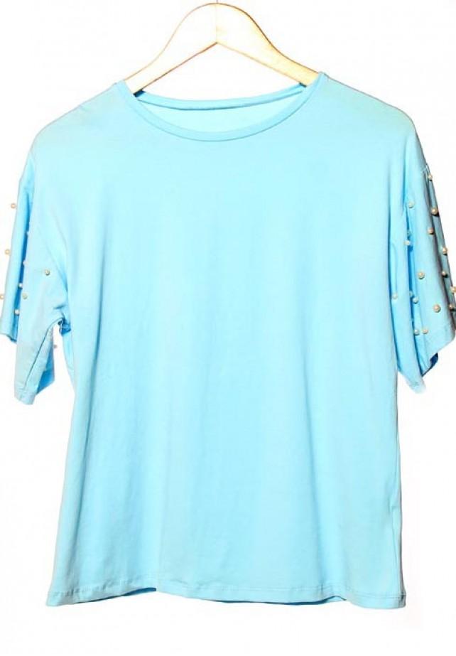 Camiseta perlas manga