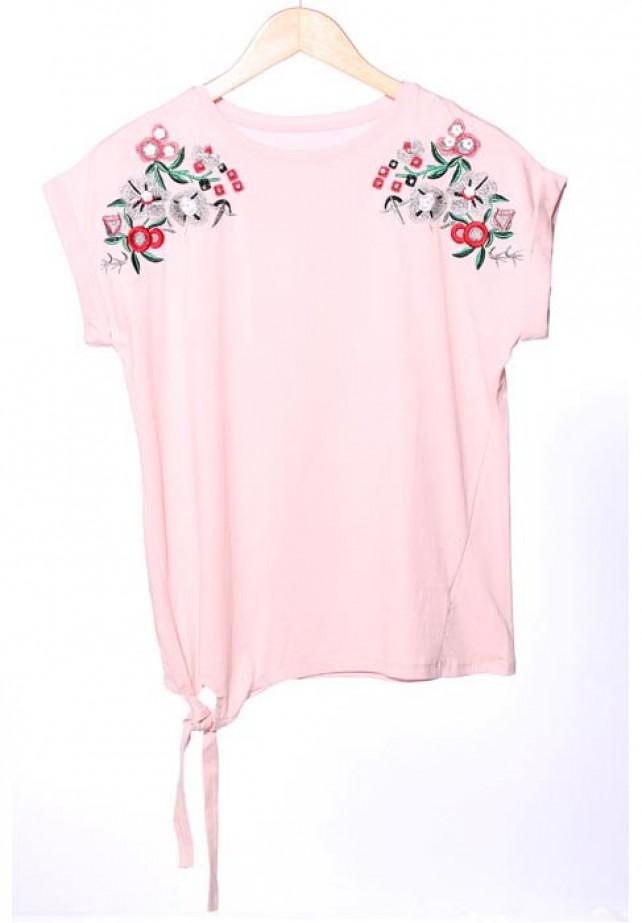 Camiseta de atar con bordado floral