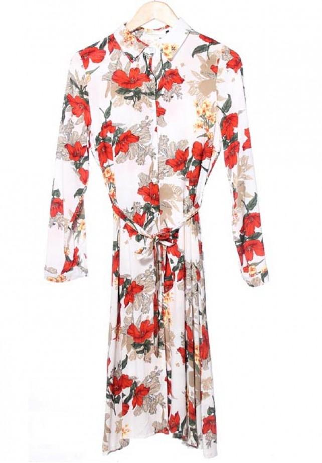 Vestido camisero  midi estampado floral