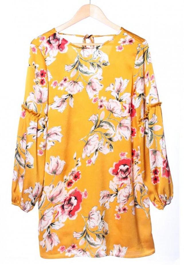 Vestido mostaza estampado floral